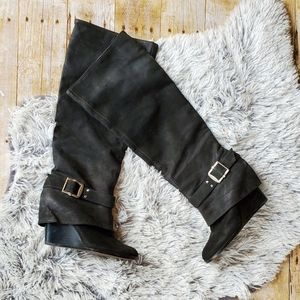 Vince Camuto Alician Black Nubuck Leather boots